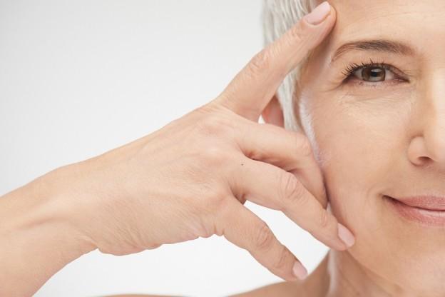 Close up of senior woman` head.